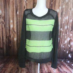Halogen // Green Grey Crochet Knit Fishnet Sweater